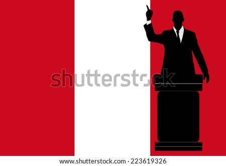 politician speaking from tribune, vector  - stock vector