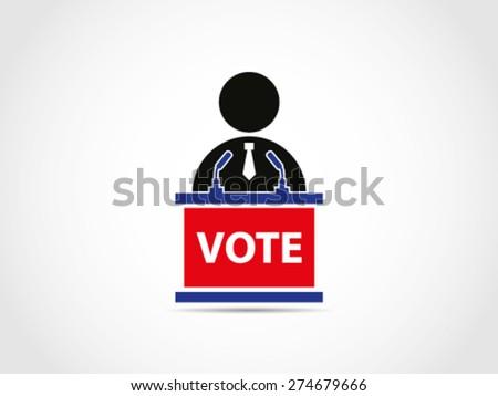Politician Voting Speech Campaign Program Solution Project Podium - stock vector