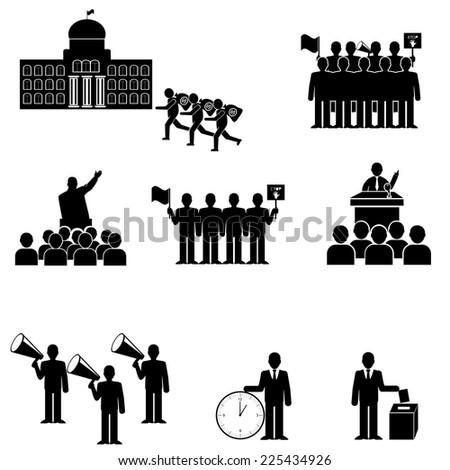 Politics,Protesters crowd vector icon set - stock vector