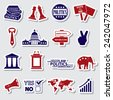 politics red and blue simple stickers set eps10 - stock vector