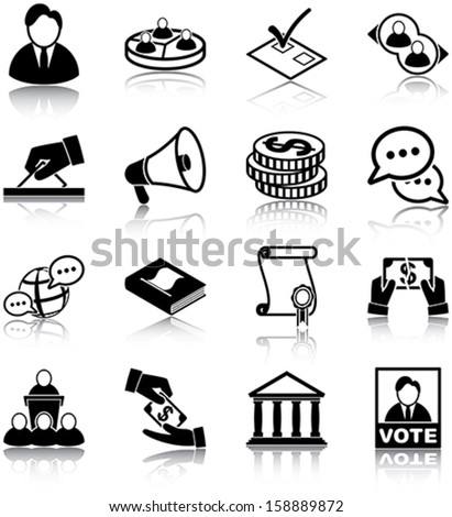 Politics related icons/ silhouettes. - stock vector
