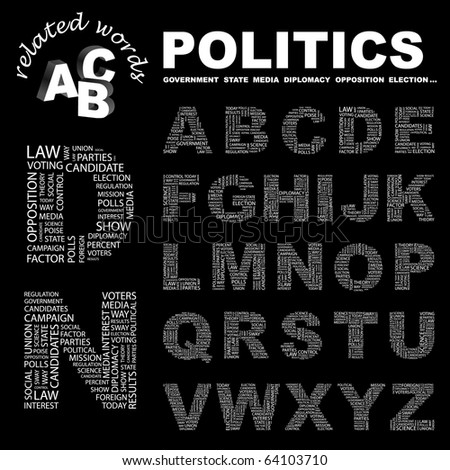POLITICS. Vector letter collection. Illustration with different association terms.