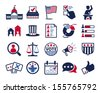 Politics, Voting and elections icons - color vector icon set - stock photo