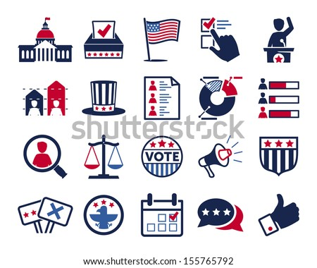 Politics, Voting and elections icons - color vector icon set - stock vector