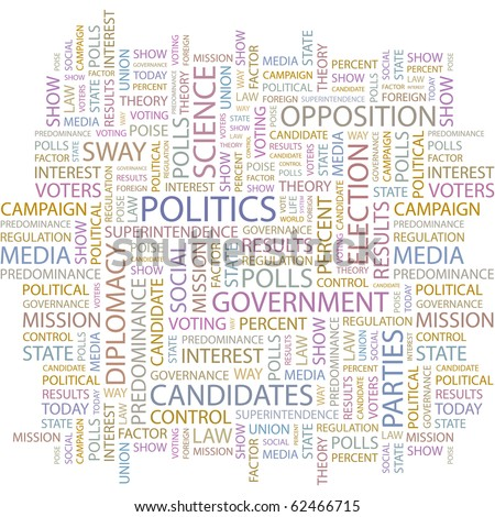 POLITICS. Word collage on white background. Illustration with different association terms. - stock vector