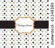 Polka dot design with black elements, vector frame - stock vector