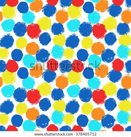 Polka dot, dot pattern, colorful dots, blue dots, yellow dots, red dots, dot background, dot vector, irregular dots, seamless dots, unusual dots, chaotic dots, paint dots, brush dots, stroke dots, dot - stock vector