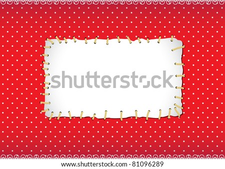 Polka dot frame with stitched patch - stock vector