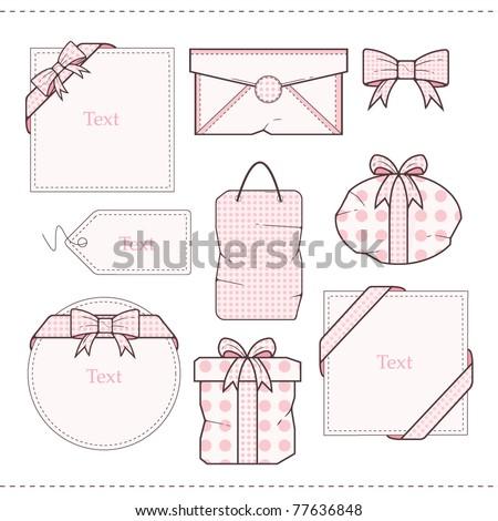 Polka Dot Gift  vector Set - stock vector