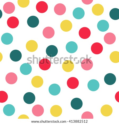 Polka Dot Pattern, Seamless Vector Background. - stock vector