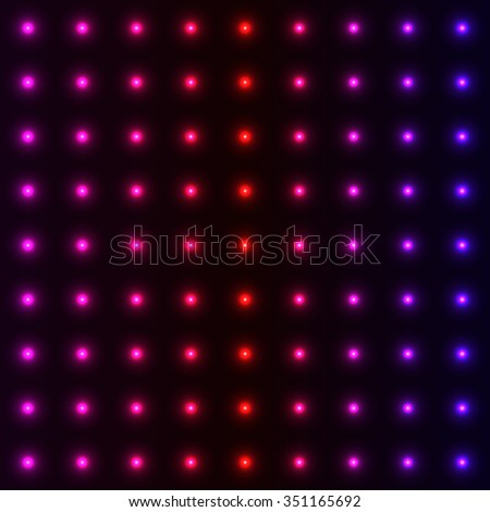 Polka dots neon blur led lights with glowing effects on night background, vector backdrop for techno style disco club laser show poster invitation  - stock vector