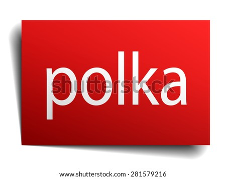polka red paper sign on white background