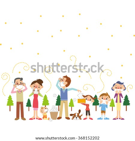 Pollen and three-generation family - stock vector