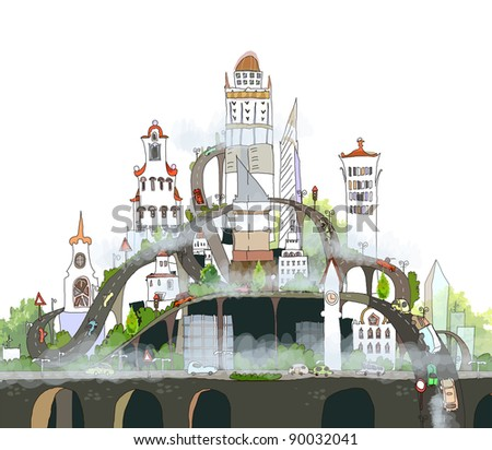 Polluted city - stock vector