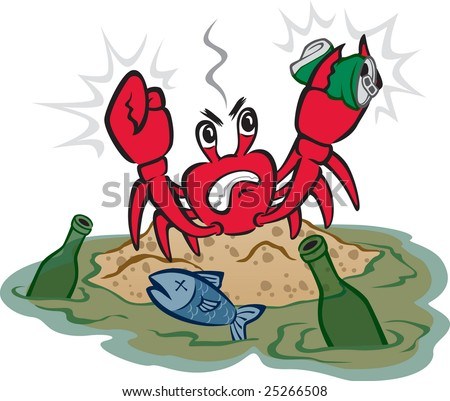 Polluted Shore - stock vector