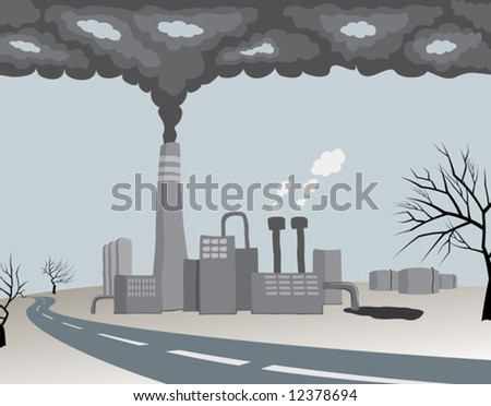 polluting ecology factory - stock vector