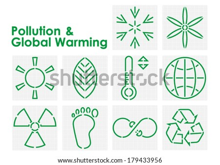 Pollution and Global Warming Symbols - stock vector