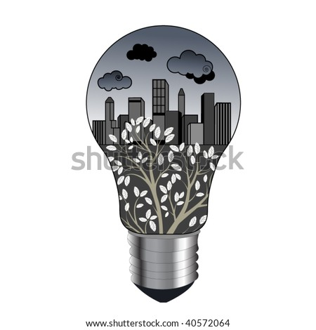 pollution concept remove clipping mask to see full tree - stock vector