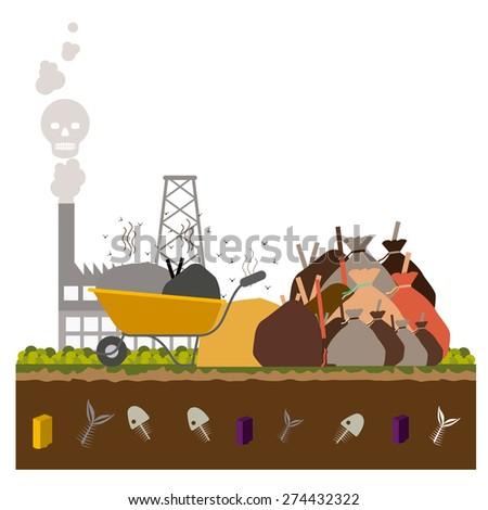Pollution design over white background, vector illustration - stock vector