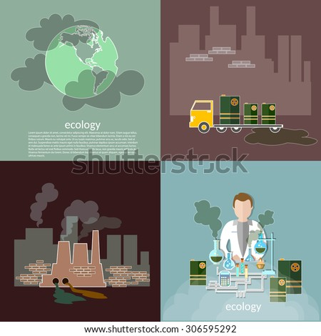 Pollution ecology smog in the city contamination garbage disposal waste vector icons - stock vector