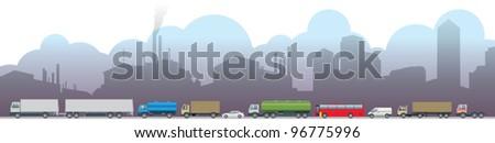 Pollution Environment Concept Icon Emissions, pollution, traffic and factories - stock vector