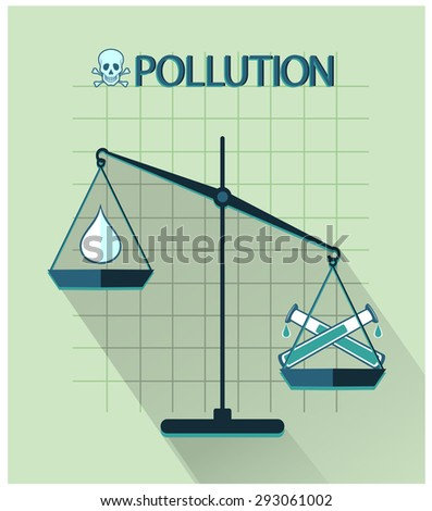 Pollution flat design, classic scales of justice with drop of pure water and tubes acid - stock vector