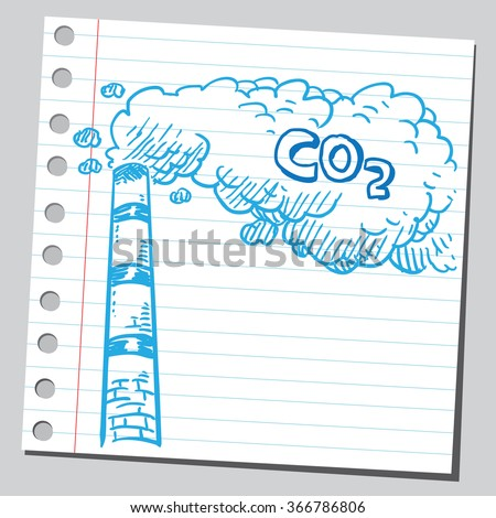 Pollution from industry gas - stock vector