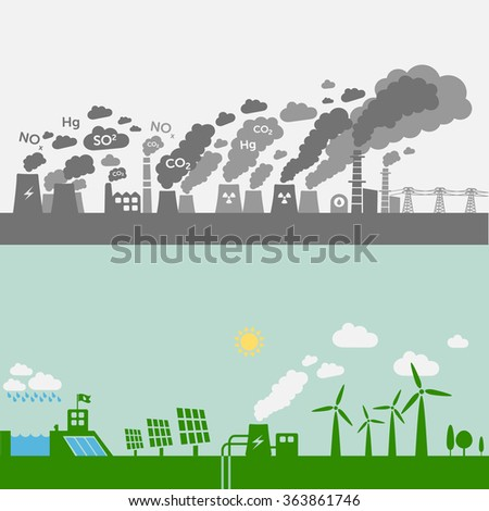 Pollution from old power plants vs. green types of power plants (water, solar, geothermal, wind). Sustainable development theme. - stock vector