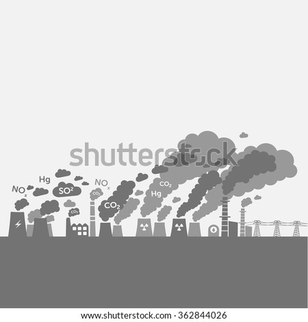 Pollution from power plants and heavy industry. - stock vector