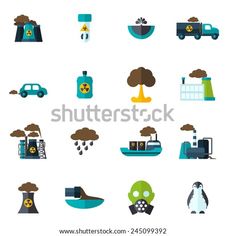 Pollution garbage and chemical waste icon flat set isolated vector illustration - stock vector