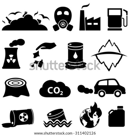 Pollution, global warming and environment icons - stock vector
