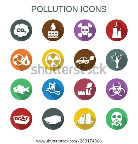 pollution long shadow icons, flat vector symbols - stock vector