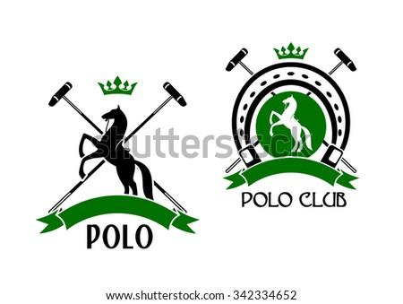 Polo club sporting emblems with rearing up horses, crossed mallets and horseshoe on the background, decorated by crowns and ribbon banners - stock vector