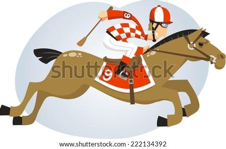 Polo Jockey riding horse with brown horse, equestrian helmet strap vector illustration. - stock vector