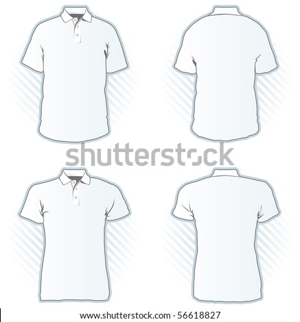 Polo shirt design template set including male and female, front and back view - Look at the portfolio for other sets