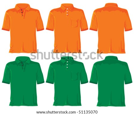 Polo shirt set. Without gradients, great for printing. Orange & green. Vector. - stock vector