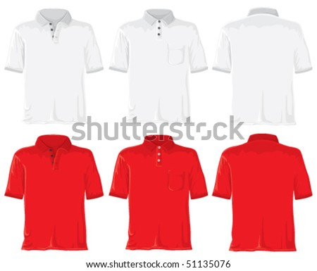 Polo shirt set. Without gradients, great for printing. White & red. Vector. - stock vector