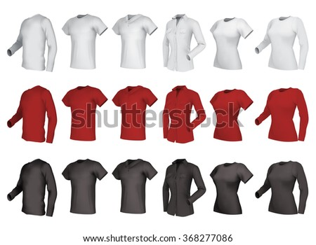 Polo, shirts and  t-shirts set. Male and female, side view. - stock vector