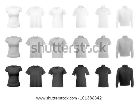 Polo shirts, t-shirts and hoodie set. - stock vector