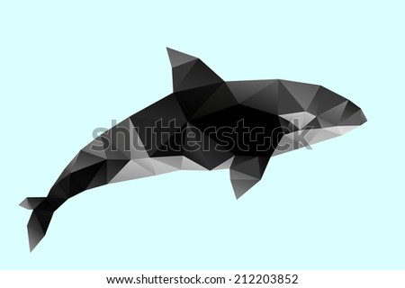 Polygon abstract illustration of killer whale - stock vector