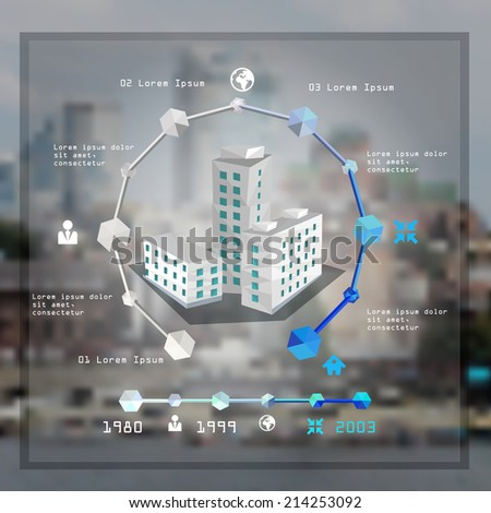 Polygon buildings infographic concept and charts vector illustration  - stock vector