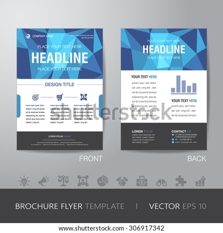 polygon business brochure flyer design layout template in A4 size, with bleed, vector eps10. - stock vector