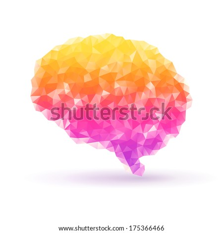 Polygon human brain on white background with shadow. Vector illustration. Abstract polygonal shape. Low-poly colorful style. Creative geometric concept. Science symbol. - stock vector