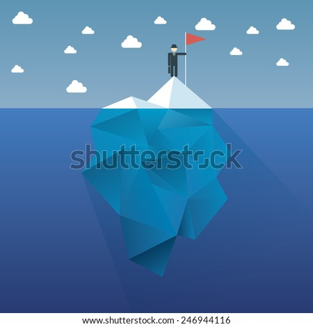 Polygon iceberg concept vector design with infographic menu options as symbol of business risk. Eps10 vector illustration. - stock vector