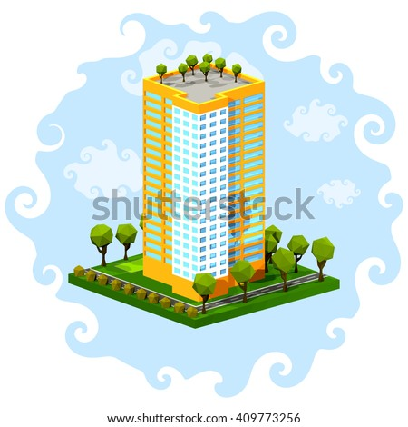 Polygon isometric multi-storey building on a blue background. Residential house on a white background. Isometric style. Vector illustration.Icon isometric house. - stock vector