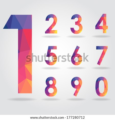 polygon number set vector - stock vector