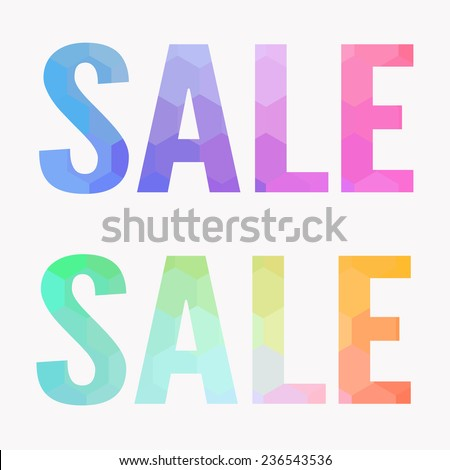 Polygon Sale letters words banner vector - stock vector