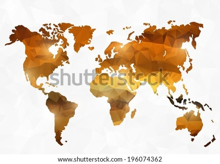 Polygon style world map - stock vector