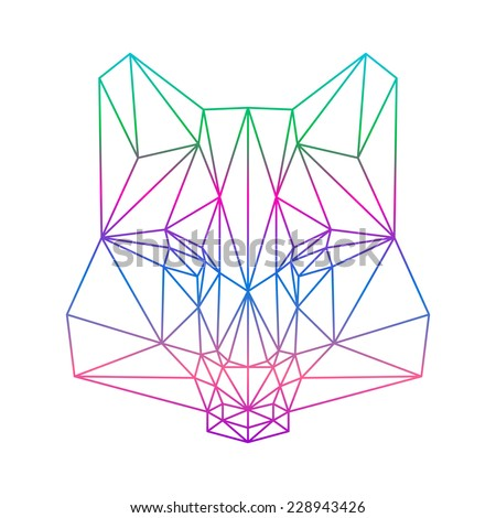 polygonal abstract gradient colored wolf silhouette drawn in one continuous line isolated on a white background - stock vector