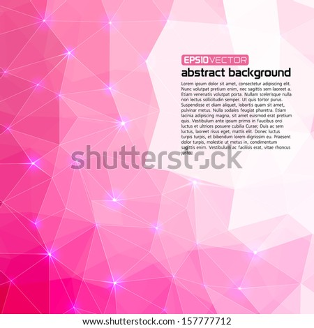 Polygonal abstract pink background for business presentation - stock vector